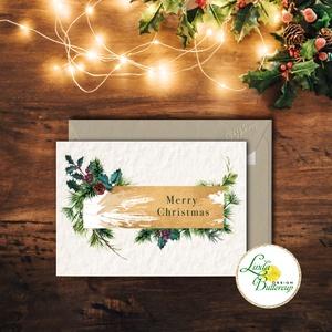 Vintage Karácsonyi Képeslap, Adventi Képeslap, Karácsonyi,  Karácsonyi üdvözlőlap, Ünnepi képeslap, személyre szóló, Karácsonyi képeslap, Karácsony & Mikulás, Fotó, grafika, rajz, illusztráció, Mindenmás, A/6-os méretű Igényes Egyedi Karácsonyi képeslap, borítékkal.\n\nMás felirat is kérhető a lapra!\nVásár..., Meska