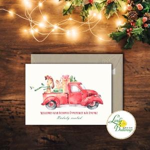 Autós Karácsonyi Képeslap, Retro, piros auto, bogár, fenyő, adventi Kártya, Karácsonyi üdvözlőlap, Vintage, fenyőfa, Otthon & Lakás, Karácsonyi képeslap, Karácsony & Mikulás, A/6-os méretű Igényes kinyitható Egyedi Karácsonyi képeslap, borítékkal.  Kinyitható, belül üres saj..., Meska