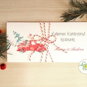 Karácsonyi ajándék, Pénzátadó boríték, utalvány átadó, céges ajándék, pénz, képeslap, egyedi, személyre szóló, autó, Dekoráció, Otthon & lakás, Ünnepi dekoráció, Karácsony, Ajándékkísérő, Naptár, képeslap, album, Ajándékkísérő, Fotó, grafika, rajz, illusztráció, Papírművészet, Igényes egyedi, személyre szóló Pénz-Átadó zsebes boríték szalaggal átkötve.\n\nA Szöveg változtatható..., Meska