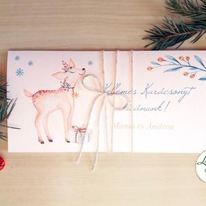 Karácsonyi ajándék, Pénzátadó boríték, utalvány átadó, céges ajándék, pénz, képeslap, személyre szóló, őz, szarvas, Dekoráció, Otthon & lakás, Ünnepi dekoráció, Karácsony, Ajándékkísérő, Naptár, képeslap, album, Ajándékkísérő, Fotó, grafika, rajz, illusztráció, Papírművészet, Igényes egyedi, személyre szóló Pénz-Átadó zsebes boríték szalaggal átkötve.\n\nA Szöveg változtatható..., Meska