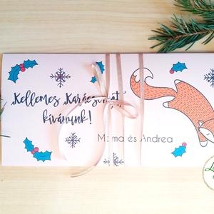 Karácsonyi ajándék, Pénzátadó boríték, utalvány átadó, céges ajándék, pénz, egyedi, személyre szóló, róka, állatos, téli, Dekoráció, Otthon & lakás, Ünnepi dekoráció, Karácsony, Ajándékkísérő, Naptár, képeslap, album, Ajándékkísérő, Fotó, grafika, rajz, illusztráció, Papírművészet, Igényes egyedi, személyre szóló Pénz-Átadó zsebes boríték szalaggal átkötve.\n\nA Szöveg változtatható..., Meska