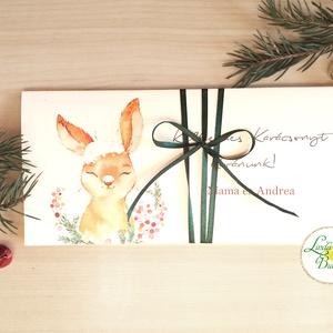 Karácsonyi ajándék, Pénzátadó boríték, utalvány átadó, céges ajándék, pénz, egyedi, személyre szóló, nyuszi, nyúl, Karácsony, Ünnepi dekoráció, Dekoráció, Otthon & lakás, Ajándékkísérő, Naptár, képeslap, album, Ajándékkísérő, Fotó, grafika, rajz, illusztráció, Papírművészet, Igényes egyedi, személyre szóló Pénz-Átadó zsebes boríték szalaggal átkötve.\n\nA Szöveg változtatható..., Meska