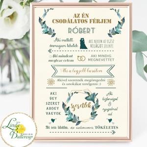 Szeretem a férjemet, névre szóló kép, Csodálatos férj, falikép, házassági évforduló, szülinap, névnap, ajándék, vőlegény (LindaButtercup) - Meska.hu