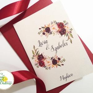 Kinyithatós meghívó, bordó, őszirózsa, őszi, meghívó, Natúr Esküvő, Rusztikus meghívó, virágos, vad virág, rózsa, erdei, Esküvő, Meghívó, Meghívó & Kártya, Minőségi Virágos Esküvői  Meghívó  * KINYITHATÓS MEGHÍVÓ BORÍTÉKKAL * méret kb. A6  * SZERKESZTÉSI D..., Meska