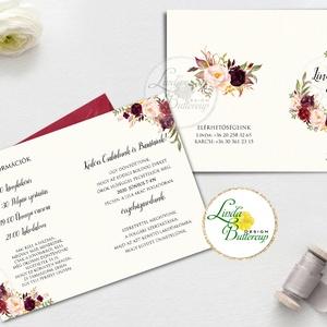 Kinyithatós meghívó, bordó, őszirózsa, őszi, meghívó, Natúr Esküvő, Rusztikus meghívó, virágos, vad virág, rózsa, erdei (LindaButtercup) - Meska.hu