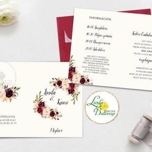 Kinyithatós meghívó, bordó, őszirózsa, őszi, meghívó, Natúr Esküvő, Rusztikus meghívó, virágos, vad virág, rózsa, erdei, Esküvő, Meghívó, ültetőkártya, köszönőajándék, Esküvői dekoráció, Naptár, képeslap, album, Otthon & lakás, Fotó, grafika, rajz, illusztráció, Papírművészet, Minőségi Virágos Esküvői  Meghívó\n\n* KINYITHATÓS MEGHÍVÓ BORÍTÉKKAL *\nméret kb. A6\n\n* SZERKESZTÉSI D..., Meska