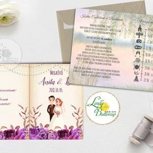 Kinyithatós meghívó, burgundy, őszirózsa, őszi, meghívó, Rusztikus meghívó, virágos, esküvői meghívó, egyedi pár grafika (LindaButtercup) - Meska.hu