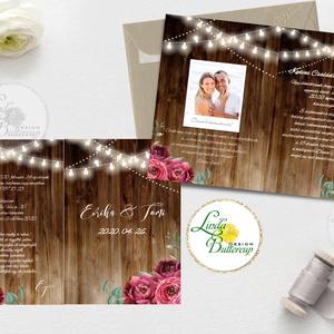 Kinyithatós meghívó, saját fotóval, burgundy, őszirózsa, meghívó, Rusztikus meghívó, virágos, esküvői meghívó, egyedi (LindaButtercup) - Meska.hu