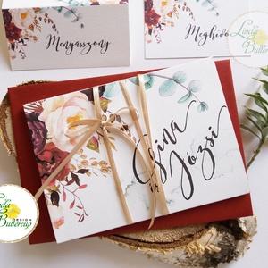 ÚJ harmónika hajtott meghívó, Őszi Esküvői meghívó, Rusztikus meghívó, Bohém, Natúr meghívó, erdei, természet közeli, Esküvő, Naptár, képeslap, album, Meghívó, ültetőkártya, köszönőajándék, Esküvői dekoráció, Fotó, grafika, rajz, illusztráció, Papírművészet, Minőségi különleges kivitelezésű harmónika-hajtott meghívó  * MEGHÍVÓ CSOMAG BORÍTÉKKAL: -   Harmón..., Meska
