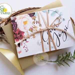 ÚJ harmónika hajtott meghívó, Őszi Esküvői meghívó, Rusztikus meghívó, Bohém, Natúr meghívó, erdei, természet közeli (LindaButtercup) - Meska.hu