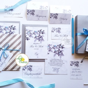 Szürke Meghívó, ezüst Esküvői meghívó, Elegáns, márvány, silver, leveles, levél, faág (LindaButtercup) - Meska.hu