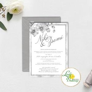 Fehér Meghívó, ezüst Esküvői meghívó, Elegáns, márvány, silver, szürke, meghívó, orchidea, virágos, elegáns (LindaButtercup) - Meska.hu