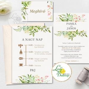 Greenery Esküvői meghívó, geometrikus, pasztell, Natúr meghívó, natur, zöld levelek, természetközeli esküvő, arany (LindaButtercup) - Meska.hu