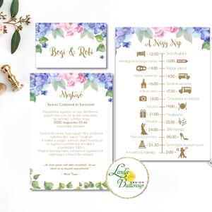 Esküvői meghívó, virágos meghívó, hortenzia, bazsarózsa, meghívó csomag, meghívó szett, virágos, esküvő, tavaszi, nyári, Esküvő, Meghívó, ültetőkártya, köszönőajándék, Fotó, grafika, rajz, illusztráció, Papírművészet, Minőségi Esküvői Meghívó szett\n\n* MEGHÍVÓ CSOMAG BORÍTÉKKAL:\n- 1. -Meghívó lap, egy oldalas: kb.: 9...., Meska