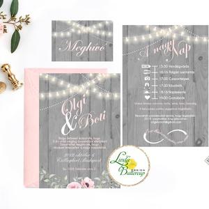 Esküvői meghívó, szürke, ezüst, rusztikus, fényfüzér, fa háttér, virágos meghívó, bazsarózsa, meghívó csomag, pink, Esküvő, Meghívó, ültetőkártya, köszönőajándék, Esküvői dekoráció, Naptár, képeslap, album, Otthon & lakás, Fotó, grafika, rajz, illusztráció, Papírművészet, Minőségi Esküvői Meghívó szett\n\n* MEGHÍVÓ CSOMAG BORÍTÉKKAL:\n- 1. -Meghívó lap, egy oldalas: kb.: 9...., Meska