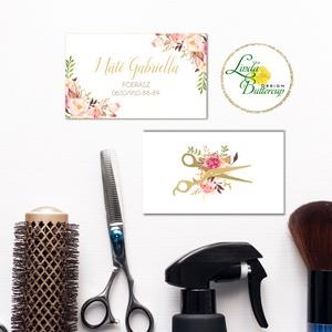 Névjegykártya, Egyedi Tervezés, fodrász, körmös, Névjegy, design, szerkesztés, virágos, olló, szépségipar, kozmetikus, Naptár & Tervező, Papír írószer, Otthon & Lakás, Fotó, grafika, rajz, illusztráció, Papírművészet, Virágos Névjegykártya csajoknak!\n\nFodrászoknak, Kozmetikusoknak bárkinek aki elegáns stílusban szere..., Meska