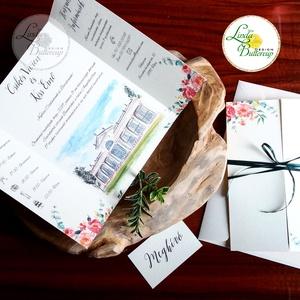 ÚJ ablak kinyithatós meghívó, Esküvői meghívó, virágos, nyári, tavaszi, egyedimeghívó, rajz, festmény, pálmaház, tata, Esküvő, Meghívó, ültetőkártya, köszönőajándék, Esküvői dekoráció, Naptár, képeslap, album, Otthon & lakás, Fotó, grafika, rajz, illusztráció, Papírművészet, Minőségi különleges kivitelezésű ablakos-kinyithatós meghívó\n\n* MEGHÍVÓ CSOMAG BORÍTÉKKAL:\n-   Ablak..., Meska