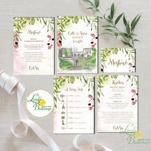 Greenery Esküvői meghívó szett, sorg villa, saját rajz, egyedi meghívó, festmény, natúr, zöld levelek, természetközeli,, Esküvő, Meghívó, ültetőkártya, köszönőajándék, Esküvői dekoráció, Naptár, képeslap, album, Otthon & lakás, Fotó, grafika, rajz, illusztráció, Papírművészet, Minőségi Greenery Esküvői Meghívó szett\n\n* MEGHÍVÓ CSOMAG BORÍTÉKKAL:\nA csomag tartalma: \n*2db lap k..., Meska