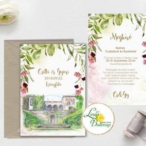 Greenery Esküvői meghívó, sorg villa, saját rajz, egyedi meghívó, festmény, natúr, zöld levelek, természetközeli,, Esküvő, Meghívó, ültetőkártya, köszönőajándék, Esküvői dekoráció, Naptár, képeslap, album, Otthon & lakás, Fotó, grafika, rajz, illusztráció, Papírművészet, Minőségi Greenery Esküvői Meghívó szett\n\n1 lapos meghívó dupla oldalas nyomtatással\nborítékkal együt..., Meska