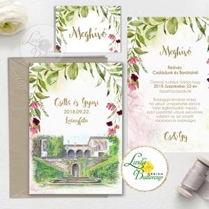 Greenery Esküvői meghívó, sorg villa, egyedi rajz, festmény, helyszín,natur, zöld levelek, természetközeli esküvő, arany, Esküvő, Meghívó, ültetőkártya, köszönőajándék, Esküvői dekoráció, Naptár, képeslap, album, Otthon & lakás, Fotó, grafika, rajz, illusztráció, Papírművészet, Minőségi Greenery Esküvői  Meghívó\n\n* MEGHÍVÓ CSOMAG BORÍTÉKKAL:\n- 1.  -Meghívó lap, egy oldalas: kb..., Meska