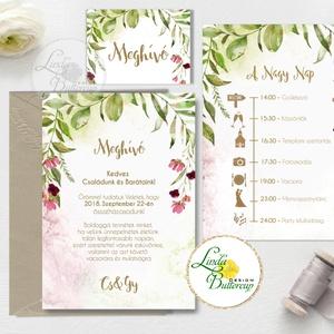 Greenery Esküvői meghívó, natur, zöld levelek, természetközeli esküvő, arany, levélkoszorú, erdei esküvő, bohém (LindaButtercup) - Meska.hu