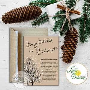 Téli Meghívó, Rusztikus esküvői meghívó, havas, hó, karácsony, karácsonyi, tél, hó, havas, fa, havas fa, barna, Meghívó, Papír írószer, Otthon & Lakás, Fotó, grafika, rajz, illusztráció, Papírművészet, Minőségi Téli Esküvői Meghívó\n\n* MEGHÍVÓ CBORÍTÉKKAL:\n- 1. -Meghívó lap, egy oldalas: kb.: 9.5cm x 1..., Meska