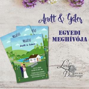 Egyedi meghívó rendelés szerkesztési díj, Clipart meghívó, Rajzolt pár meghívó, Pajta esküvő, Tanya esküvő, rét, mező (LindaButtercup) - Meska.hu