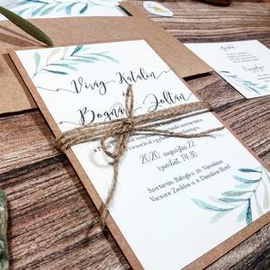 Greenery Meghívó, zöld Esküvői meghívó, oliva, eukaliptusz, mediterrán, zöld leveles, natúr meghívó, természetközeli (LindaButtercup) - Meska.hu