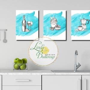Konyhai falikép szett, dekoráció, konyha, kávé, bor, desszert, süti, pohár, coffee, wine, sajt,dekor, konyha kép, Lakberendezés, Otthon & lakás, Falikép, Konyhafelszerelés, Dekoráció, Festészet, Fotó, grafika, rajz, illusztráció, A/4-es méretű 3 darabból álló konyhai print szett.\n\nKeret Nélkül.\n\nMinőségi Nyomtatás : 3db\nMéret: A..., Meska