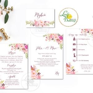 Mályva Esküvői meghívó, Rózsás meghívó, rózsa, elegáns, romantikus, virágos meghívó, vízfesték meghívó, nyári esküvő, Esküvő, Meghívó, ültetőkártya, köszönőajándék, Naptár, képeslap, album, Otthon & lakás, Képeslap, levélpapír, Fotó, grafika, rajz, illusztráció, Papírművészet, Minőségi Virágos Esküvői  Meghívó szett\n\n* MEGHÍVÓ CSOMAG BORÍTÉKKAL:\n- 1.  -Meghívó lap, DUPLA olda..., Meska