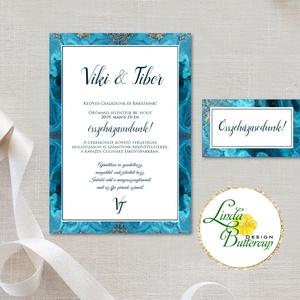 Elegáns Esküvői meghívó, márvány hatású Esküvő, Kék meghívó, márványos, arany, elegáns meghívó, Modern, , Esküvő, Meghívó, ültetőkártya, köszönőajándék, Naptár, képeslap, album, Otthon & lakás, Képeslap, levélpapír, Fotó, grafika, rajz, illusztráció, Papírművészet, Minőségi Kék Márványos Esküvői  Meghívó\n\n* MEGHÍVÓ CSOMAG BORÍTÉKKAL:\n- 1.  Meghívó lap, egy oldalas..., Meska