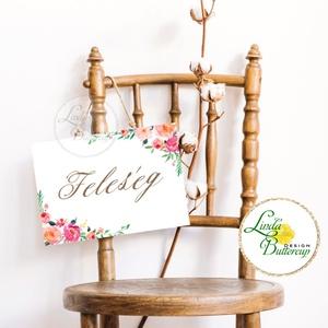 Esküvői Felirat A4, Esküvő Dekor, Papír poszter, tábla, Mr, Mrs, Esküvői felirat, természetközeli, virágos, Esküvő, Helyszíni dekor, Dekoráció, Fotó, grafika, rajz, illusztráció, Papírművészet, Meska