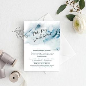 Kék Esküvői meghívó, vízfesték, vízfesték hatású, watercolor, Esküvő, Meghívó, Meghívó & Kártya, Fotó, grafika, rajz, illusztráció, Papírművészet, Meska
