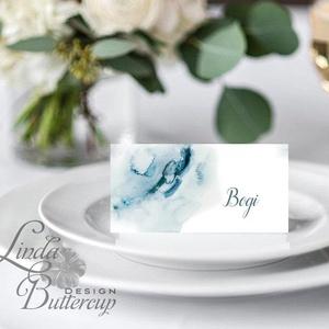 Esküvői ültetőkártya, party kártya, Esküvői ültető, vízfesték, vízfesték hatású, watercolor (LindaButtercup) - Meska.hu