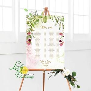 Ültetési rend, seat chart, seating plan, Ültetők, virágos, tavaszi, virág, szines, Esküvő, Ültetési rend, Meghívó & Kártya, A2 Ültetési rend - PAPÍR POSZTER  MÉRET: A2: (42x59.4cm) Ez a maximum méret amit el tudunk készíteni..., Meska