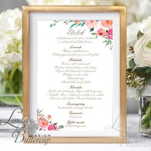 Menü lap, Asztalszám, kraft, spárga, Esküvői lap, Esküvői menü, rózsaszín menü, Party menü, rusztikus, virágos, szines, Esküvő, Meghívó, ültetőkártya, köszönőajándék, Esküvői dekoráció, Naptár, képeslap, album, Otthon & lakás, Fotó, grafika, rajz, illusztráció, Papírművészet, Esküvői Menü \n\nEgy lapos / 1oldalas\nMÉRETE: 10x15cm\n\nSzerkesztési költség 2000 Ft\nAz egyszeri szerke..., Meska
