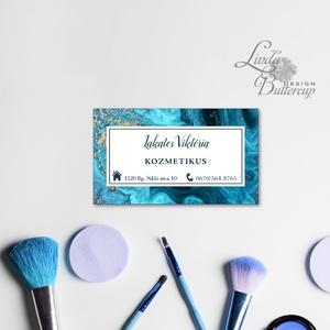 Kék márvány Névjegykártya, Egyedi Tervezés, hajvágó olló, címke, Névjegy, design, szerkesztés, logo, ajándékkísérő, logó, Otthon & Lakás, Naptár & Tervező, Papír írószer, Kék márványos Névjegykártya csajoknak!  Fodrászoknak, Kozmetikusoknak bárkinek aki elegáns stílusban..., Meska