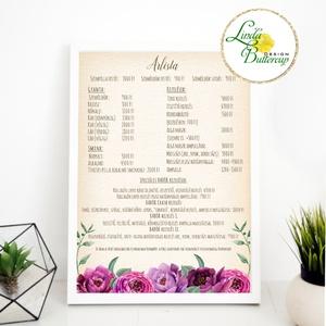 Vintage rózsás árlista, arculat, logo, Egyedi Tervezés, címke, Névjegy, design, szerkesztés, szépségszalon, rózsa, Otthon & Lakás, Névjegykártya, Papír írószer, Vintage rózsás árlista  MÉRET: A4 SZERKESZTÉSI DÍJ: 3.000ft  250g Natúr textúrált Művész papír   Egy..., Meska