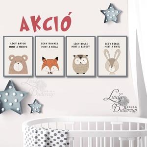 AKCIÓ! Babaszoba falikép, Állatos festmény, Erdeiállat, kép, Gyerekszoba dekoráció, medve, róka, bagoly, minimal, modern (LindaButtercup) - Meska.hu