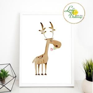 Szarvas Gyerekszoba Kép, Print, állatos, babaszoba dekoráció, dekor, falikép, szülinap, erdeiállat, virágos, vízfesték (LindaButtercup) - Meska.hu