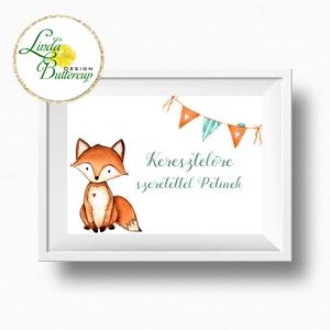 Gyerekszoba Kép, Print, állatos, babaszoba dekoráció, dekor, falikép, szülinapi, erdeiállat, mosómedve, róka, névreszóló (LindaButtercup) - Meska.hu