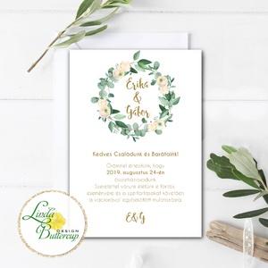Levélkoszorú Meghívó, Greenrey, Esküvői meghívó, eukaliptusz, zöld leveles, natúr, természetközeli, barack virágos - esküvő - meghívó & kártya - meghívó - Meska.hu