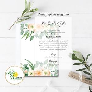 Pauszpapír meghívó, átlátszó, Greenery meghívó, zöld Esküvői meghívó, eukaliptusz, zöld leveles, levél,  (LindaButtercup) - Meska.hu