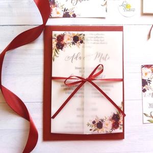 Pauszpapír meghívó, átlátszó, őszi rózsa, virágos meghívó, bordó, Esküvői meghívó, pauszpapíros, Esküvő, Meghívó & Kártya, Meghívó, Fotó, grafika, rajz, illusztráció, Papírművészet, Meska
