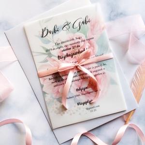 A5 méretű Pauszpapír meghívó, átlátszó, bazsarózsa, virágos meghívó, rózsaszín Esküvői meghívó, pauszpapíros (LindaButtercup) - Meska.hu