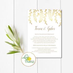 Arany színű Meghívó, arany hatású Esküvői meghívó, Elegáns, virágos, elegáns, inda, levél (LindaButtercup) - Meska.hu
