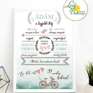 Szeretem a férjemet, névre szóló kép, Csodálatos férj falikép, házassági évforduló, szülinap, ajándék, vőlegény, bicikli (LindaButtercup) - Meska.hu