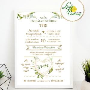 Szeretem a férjemet, névre szóló kép, Csodálatos férj falikép, házassági évforduló, szülinap ajándék, vőlegény, greenery (LindaButtercup) - Meska.hu