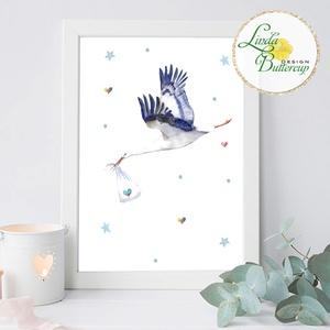 Gyerekszoba Kép, gólya, megérkeztem, Print, babaszoba dekoráció, dekor, falikép, szülinapi ajándék, babaváró, unisex (LindaButtercup) - Meska.hu