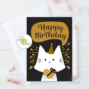 Szülinapi Képeslap, Születésnap, lap, üdvözlőlap, ajándék, egyedi, cica, macska, fekete, happy birthday, Otthon & Lakás, Papír írószer, Képeslap & Levélpapír, Fotó, grafika, rajz, illusztráció, Mindenmás, A/6-os képeslap\n\nLepd meg szerettedet ezzel a a csodás, egyedi képeslappal.\n\nKinyithatós: belül üres..., Meska